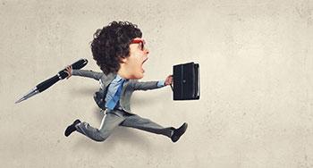 rennender gehetzter Bürojunge