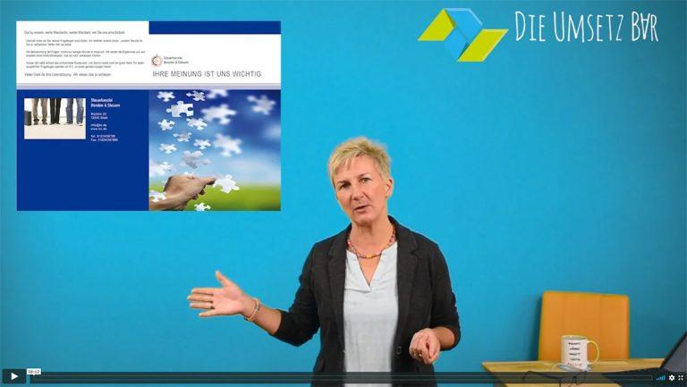Screenshot Videolektion Zufriedenheitsbefragung