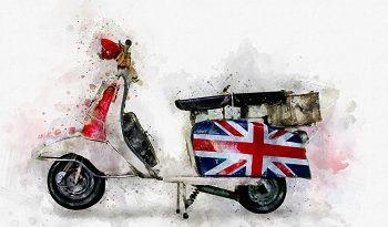 Motorroller mit britischer Flagge