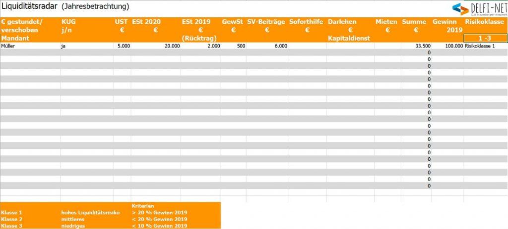 Screenshot Liquiditätsradar
